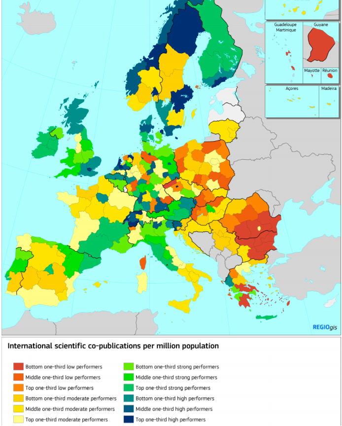 ​​EU data on co-authored scientific publications per million inhabitants puts the UK ahead of most other EU regions