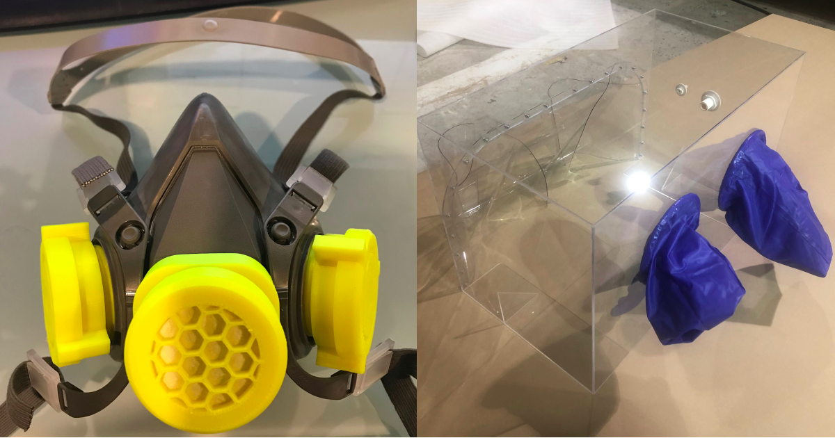 Among other things, SantéLibre's multidisciplinary teams have designed protective masks that work with refillable cartridges (left) and intubation boxes to protect hospital staff (right).