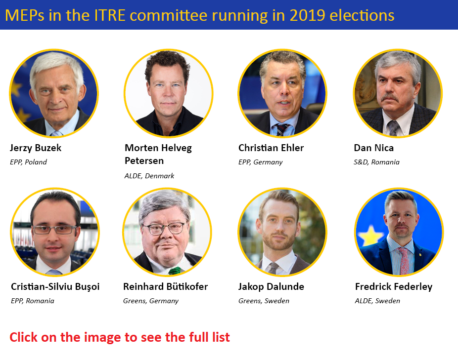 image of MEPs in the ITRE committee running in the 2019 elections