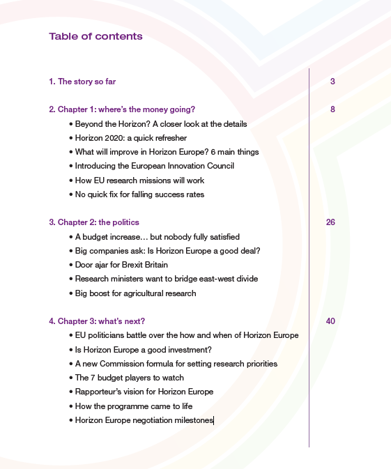 table of contents - horizon europe report