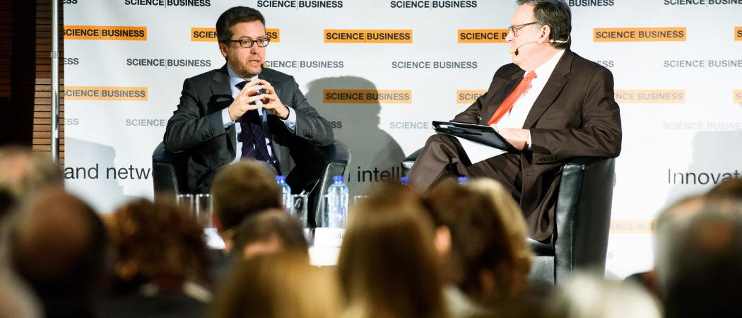 Carlos Moedas speaking at Science|Business conference in 2016